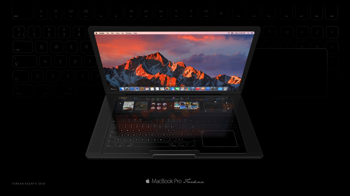 New Macbook Touch Concept, With Huge Touchbar And Virtual Keys